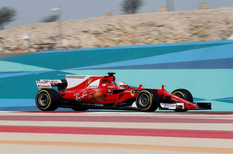 Formula One - F1 - Bahrain Grand Prix - Sakhir, Bahrain - 14/04/17 - Ferrari Formula One driver Sebastian Vettel of Germany drives during the first practice session of the Bahrain F1 Grand Prix. REUTERS/Hamad I Mohammed