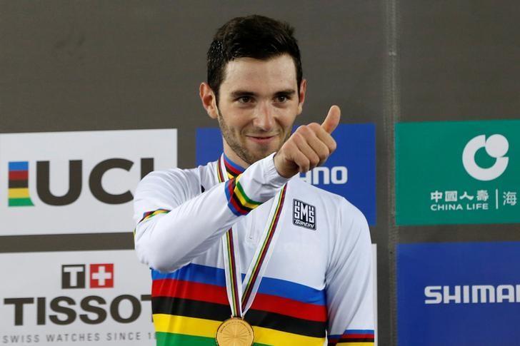 Cycling - UCI Track World Championships - Men's Omnium - Hong Kong, China – 15/4/17 - France's Benjamin Thomas poses with gold medal. REUTERS/Bobby Yip