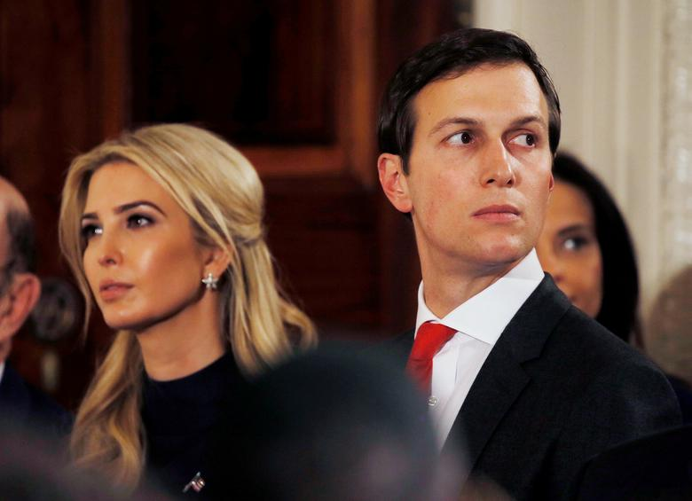 FILE PHOTO --  Ivanka Trump and her husband Jared Kushner watch as German Chancellor Angela Merkel and U.S. President Donald Trump hold a joint news conference in the East Room of the White House in Washington, U.S., March 17, 2017. REUTERS/Jim Bourg/File Photo