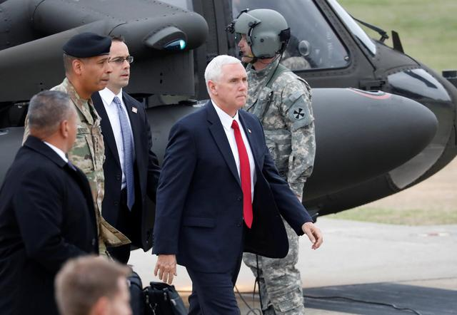 U.S. Vice President Mike Pence arrives at Camp Bonifas near the truce village of Panmunjom, in Paju, South Korea, April 17, 2017.  REUTERS/Kim Hong-Ji