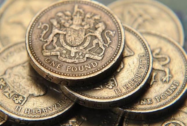 A pile of one pound coins is seen, in central London June 17, 2008. REUTERS/Toby Melville/Files