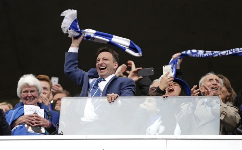 Britain Football Soccer - Brighton & Hove Albion v Wigan Athletic - Sky Bet Championship - The American Express Community Stadium - 17/4/17 Brighton and Hove Albion Chairman Tony Bloom celebrates after the game. Action Images / Henry Browne Livepic