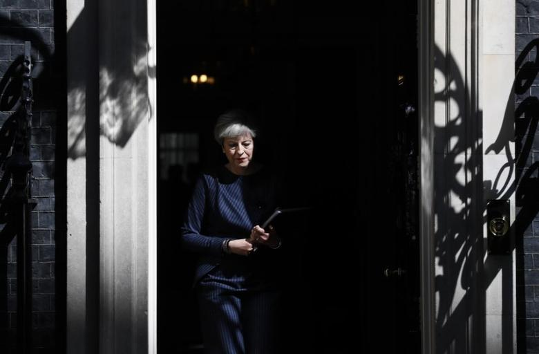 Britain's Prime Minister Theresa May prepares to speak to the media outside 10 Downing Street, in central  London, Britain April 18, 2017.  REUTERS/Stefan Wermuth