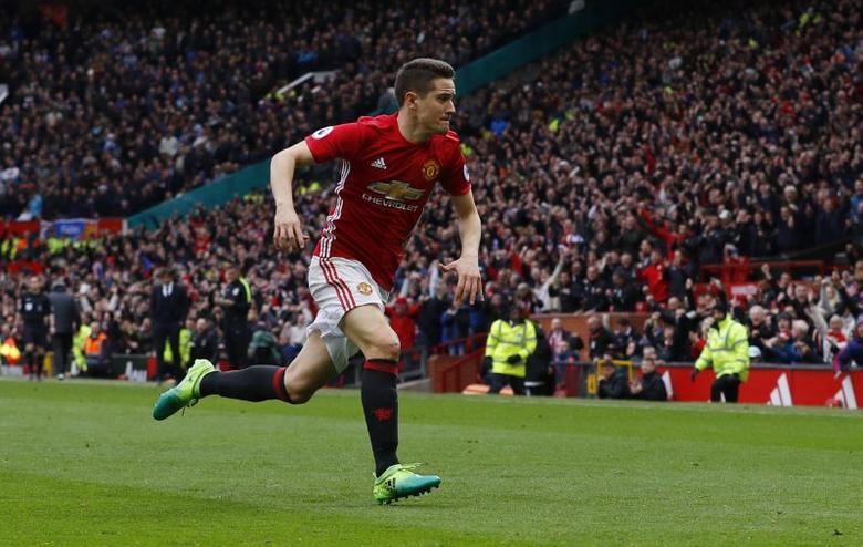 Britain Soccer Football - Manchester United v Chelsea - Premier League - Old Trafford - 16/4/17 Manchester United's Ander Herrera celebrates scoring their second goal  Action Images via Reuters / Carl Recine Livepic