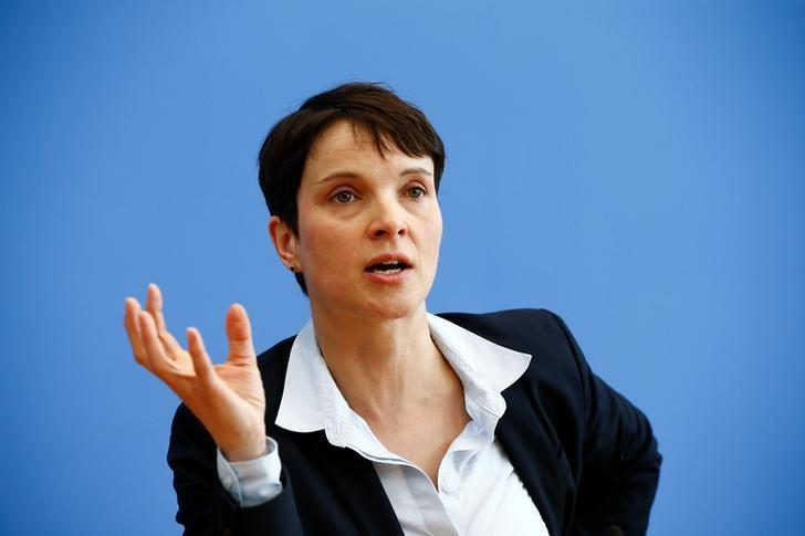Frauke Petry, chairwoman of the anti-immigration party Alternative for Germany (AfD) speaks during a news conference in Berlin, Germany, March 14, 2016. REUTERS/Wolfgang Rattay /Files