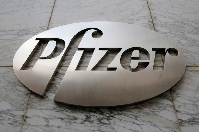FILE PHOTO - The Pfizer logo is seen at their world headquarters in Manhattan, New York, U.S., August 1, 2016.  REUTERS/Andrew Kelly/File Photo