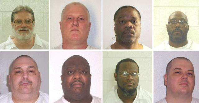FILE PHOTO - Inmates Bruce Ward(top row L to R), Don Davis, Ledell Lee, Stacy Johnson, Jack Jones (bottom row L to R), Marcel Williams, Kenneth Williams and Jason Mcgehee  are shown in these booking photo provided March 21, 2017.   Courtesy Arkansas Department of Corrections/Handout via REUTERS