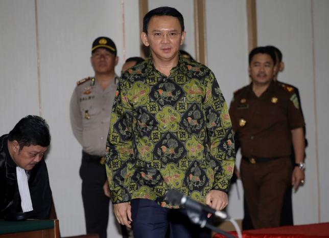 Jakarta Governor Basuki ''Ahok'' Tjahaja Purnama arrives for his court hearing in Jakarta, Indonesia, Thursday, April 20, 2017.  REUTERS/Tatan Syuflana/Pool