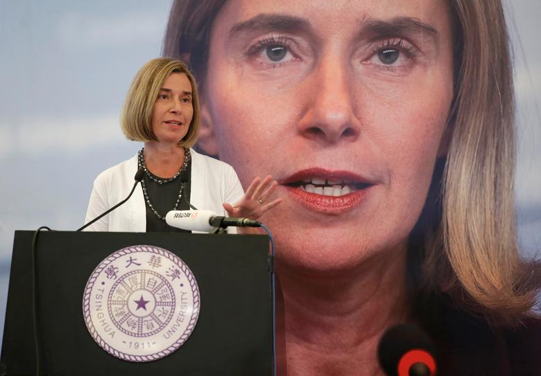 Federica Mogherini, High Representative of the European Union for Foreign Affairs, delivers a speech at Tsinghua University, in Beijing, China April 20, 2017. REUTERS/Jason Lee