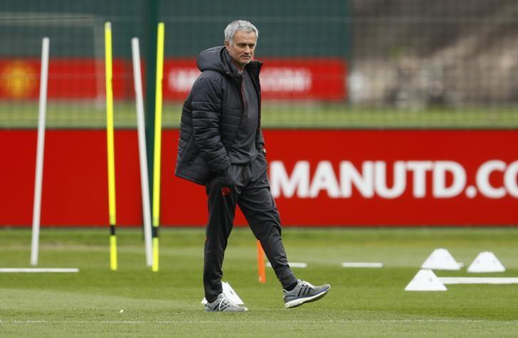 Britain Football Soccer - Manchester United Training - Manchester United Training Ground - 19/4/17 Manchester United manager Jose Mourinho during training Action Images via Reuters / Jason Cairnduff Livepic