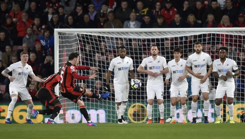 Britain Football Soccer - AFC Bournemouth v Swansea City - Premier League - Vitality Stadium - 18/3/17 Bournemouth's Adam Smith shoots at goal from a free kick Reuters / Hannah McKay Livepic