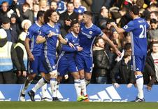 Chelsea's Eden Hazard celebrates scoring their second goal with team mates Action Images via Reuters / John Sibley Livepic