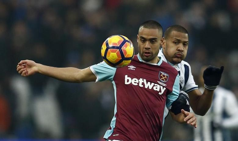 Britain Soccer Football - West Ham United v West Bromwich Albion - Premier League - London Stadium - 11/2/17 West Ham United's Winston Reid in action with West Bromwich Albion's Salomon Rondon.  Reuters / Peter Nicholls Livepic