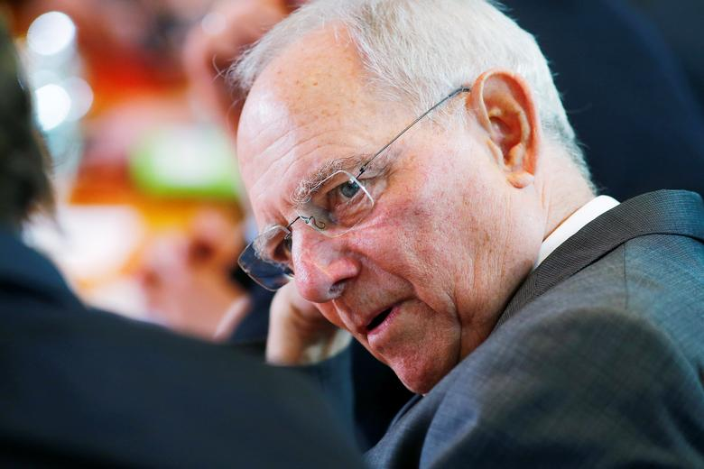 German Finance Minister Wolfgang Schaeuble attends the weekly cabinet meeting at the Chancellery in Berlin, Germany April 12, 2017. REUTERS/Hannibal Hanschke