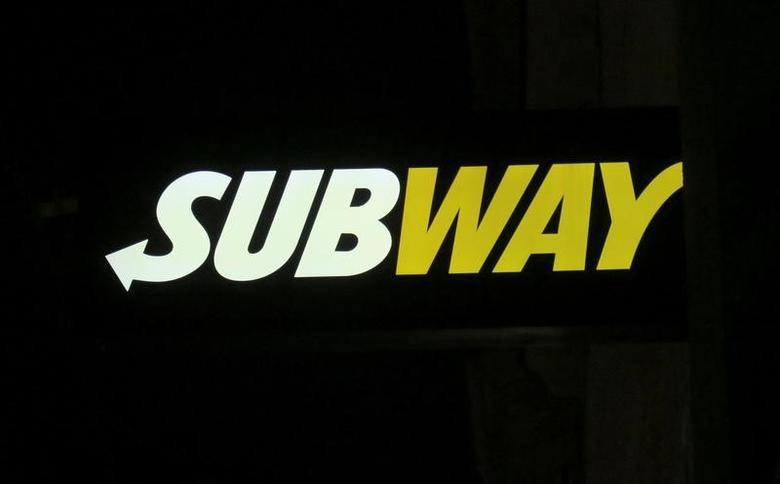 A Subway sandwich shop logo is pictured in Vienna, Austria, December 27, 2016.    REUTERS/Leonhard Foeger