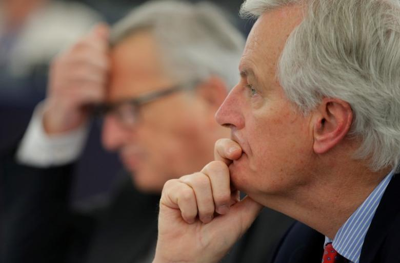 EU Brexit negotiator Michel Barnier attends a debate on Brexit priorities and the upcomming talks on the UK's withdrawal from the EU at the European Parliament in Strasbourg, France, April 5, 2017.  REUTERS/Vincent Kessler