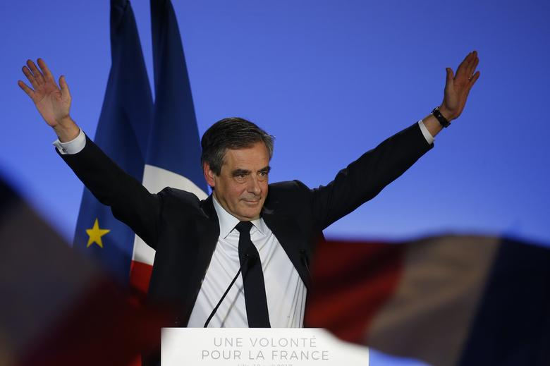 Francois Fillon, former French Prime Minister, member of the Republicans political party and 2017 French presidential election candidate of the French centre-right, attends a political campaign rally in Lille, France, April 18, 2017. REUTERS/Pascal Rossignol