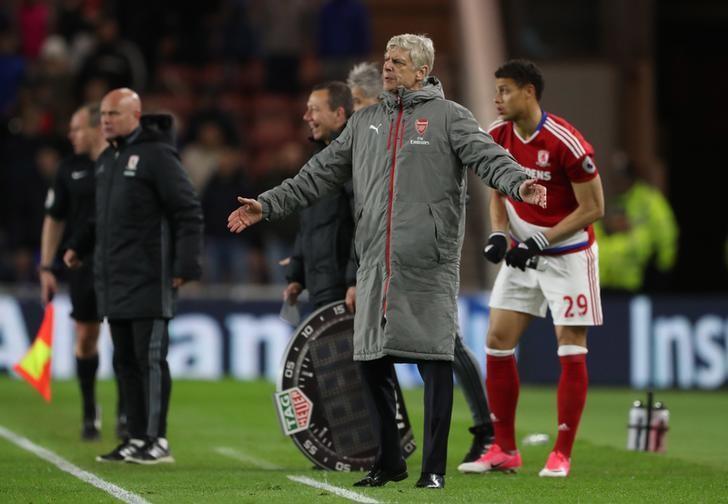 Britain Football Soccer - Middlesbrough v Arsenal - Premier League - The Riverside Stadium - 17/4/17 Arsenal manager Arsene Wenger  Reuters / Scott Heppell Livepic