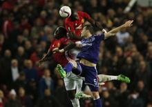 Manchester United's Eric Bailly and Paul Pogba in action with Anderlecht's Uros Spajic  Reuters / Andrew Yates Livepic