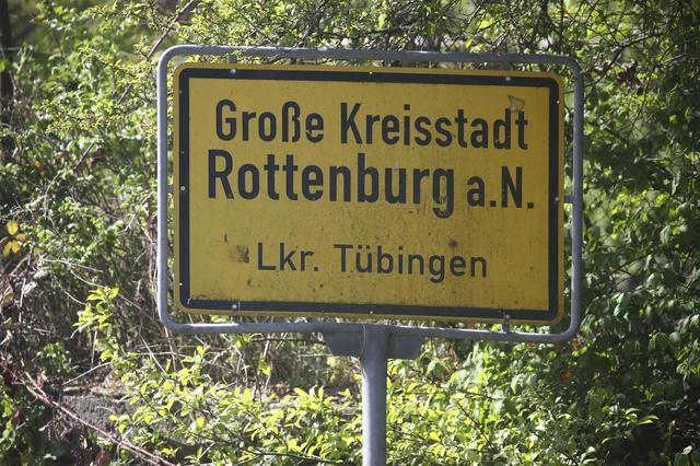 A city sign is pictured in the town Rottenburg, Germany April 21, 2017. REUTERS/Michael Dalder