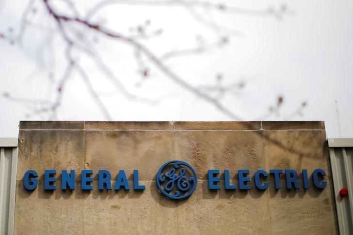 A sign marks a General Electric (GE) facility in Medford, Massachusetts, U.S., April 20, 2017.   REUTERS/Brian Snyder