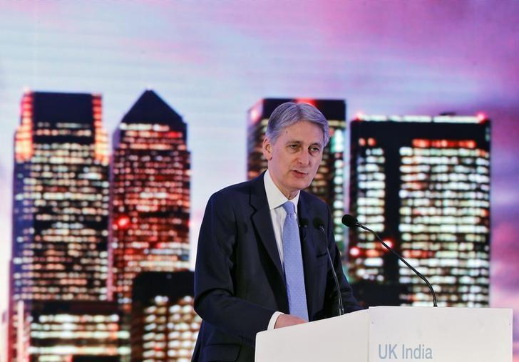 Britain's Chancellor of the Exchequer Philip Hammond speaks at the UK-India Fintech Conference in Mumbai, India, April 5, 2017. REUTERS/Shailesh Andrade