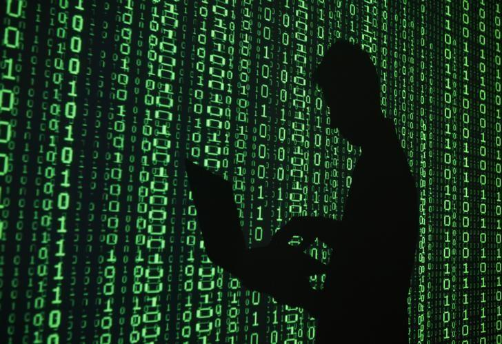 An illustration picture shows a projection of binary code around the shadow of a man holding a laptop computer in an office in Warsaw June 24, 2013.