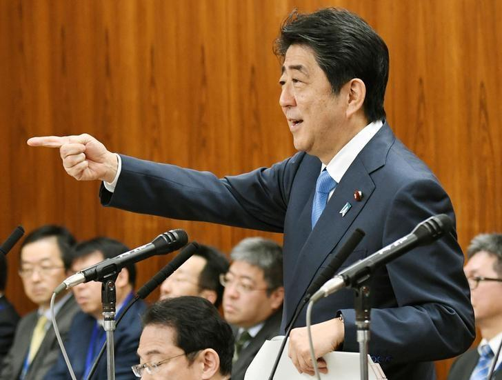 Japan's Prime Minister Shinzo Abe speaks during an upper house panel session at the Parliament in Tokyo, Japan, in this photo taken by Kyodo April 13, 2017.  Kyodo/via REUTERS