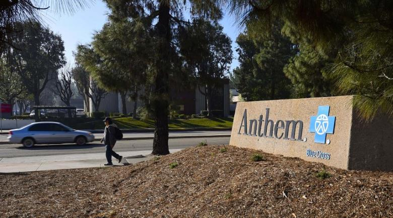 A sign at the office building of health insurer Anthem is seen in Los Angeles, California February 5, 2015.  REUTERS/Gus Ruelas