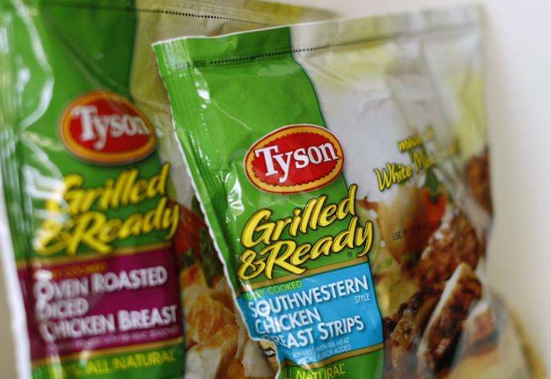 Tyson food meat products are shown in this photo illustration in Encinitas, California May 29,  2014.  REUTERS/Mike Blake