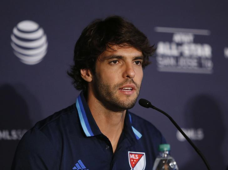 Jul 26, 2016; San Jose, CA, USA; MLS midfielder Kaka of Orlando City FC during the MLS All Star Game joint press conference at the Fairmont San Jose. Mandatory Credit: Jerry Lai-USA TODAY Sports
