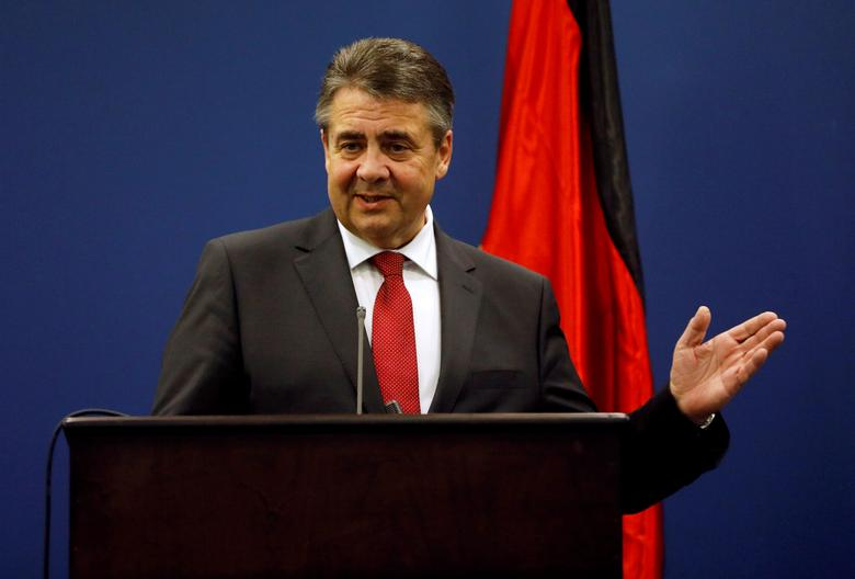German Foreign Minister Sigmar Gabriel gestures during a joint news conference with Palestinian Prime Minister Rami Hamdallah in the West Bank city of Ramallah April 25, 2017. REUTERS/Mohamad Torokman