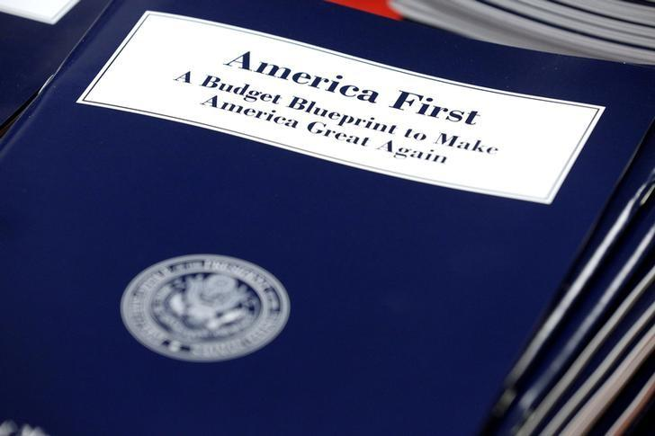 U.S. President Donald Trump's overview of the budget priorities for Fiscal Year 2018 are displayed at the U.S. Government Publishing Office (GPO) on its release by the Office of Management and Budget (OMB) in Washington, U.S. on March 16, 2017.      REUTERS/Joshua Roberts/File Photo