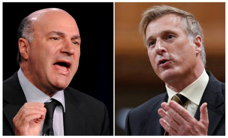 FILE PHOTO: Television personality and businessman Kevin O'Leary (L) and Canada's former Minister of State for Small Business and Tourism Maxime Bernier are seen in a combination of file photos in Pasadena, California, January 10, 2013 and Ottawa, Ontario, Canada March 26, 2013.  REUTERS/Gus Ruelas, Chris Wattie/File Photo