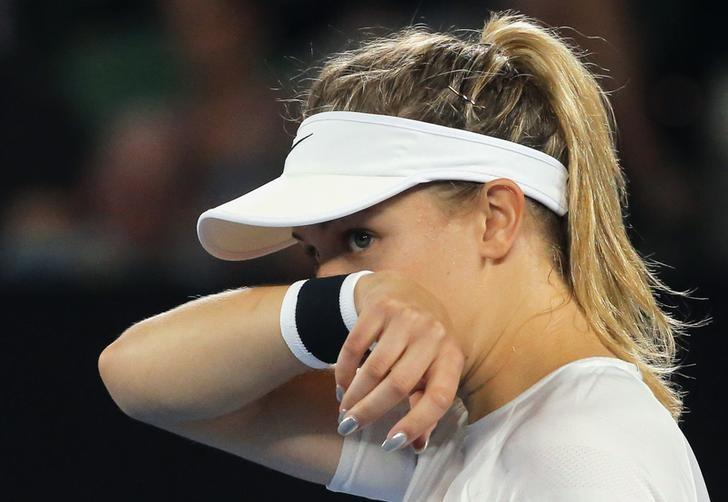 Tennis - Australian Open - Melbourne Park, Melbourne, Australia - 20/1/17 Canada's Eugenie Bouchard reacts during her Women's singles third round match against Coco Vandeweghe of the U.S. REUTERS/Jason Reed/Files