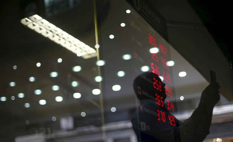 A man is reflected on the glass as he takes pictures of a board showing the Real-U.S. dollar and several foreign currencies exchange rates in Rio de Janeiro, Brazil, September 10, 2015. One thing is clear for Brazil's economy after its credit rating was downgraded to junk: political leaders now have little choice but to push ahead with painful austerity measures if they hope to regain market confidence. Standard & Poor's on Wednesday stripped Brazil of its hard-won investment grade rating, moving sooner than the government and investors had expected.  Although investors expected a downgrade at some point, they still sold off Brazilian assets early on Thursday. Stocks suffered modest losses while the currency, the real, fell nearly 3 percent to a 13-year low of 3.9 per dollar. REUTERS/Ricardo Moraes
