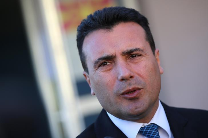 The leader of the opposition Social Democratic Union of Macedonia (SDSM) Zoran Zaev talks to media after casting his vote during elections in Strumica, Macedonia, December 11, 2016. REUTERS/Stoyan Nenov