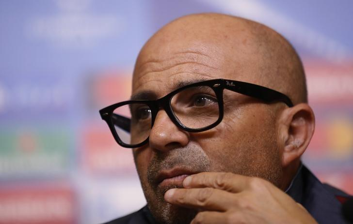 Britain Football Soccer - Sevilla Press Conference - King Power Stadium, Leicester, England - 13/3/17 Sevilla coach Jorge Sampaoli during the press conference Action Images via Reuters / Carl Recine/ Livepic/Files