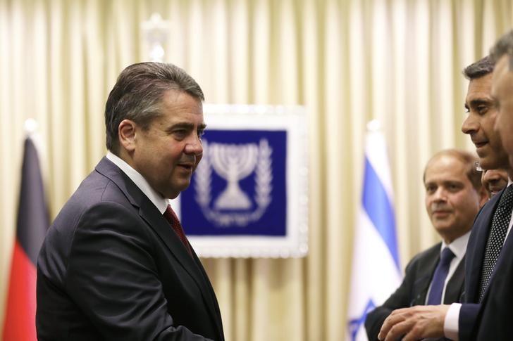 German Foreign Minister Sigmar Gabriel is seen during his meeting with Israeli President Reuven Rivlin in Jerusalem April 25, 2017.  REUTERS/Ronen Zvulun