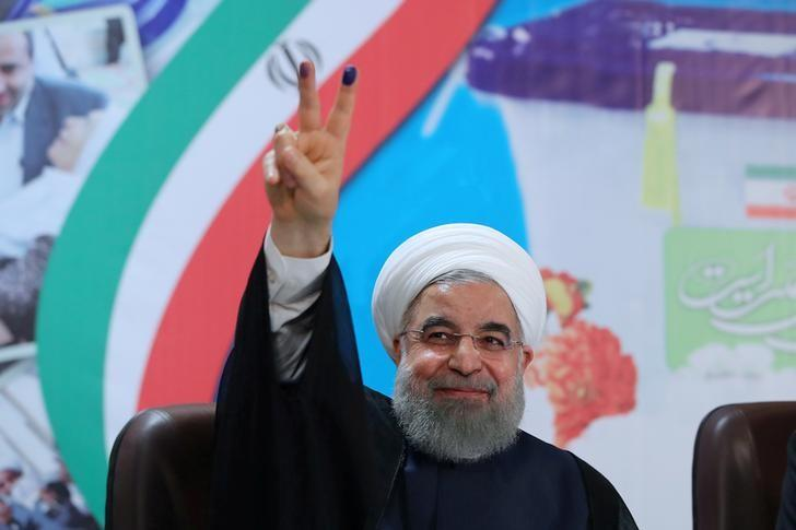 Iran's President Hassan Rouhani gestures as he registers to run for a second four-year term in the May election, in Tehran, Iran, April 14, 2017. President.ir/Handout via REUTERS/File Photo