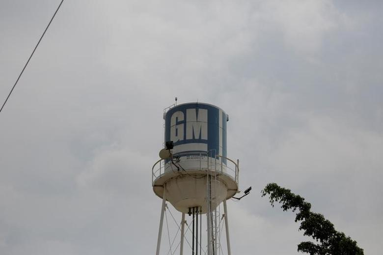 A water tank with the GM logo is seen at the General Motors Assembly Plant in Valencia, April 21, 2017. REUTERS/Marco Bello
