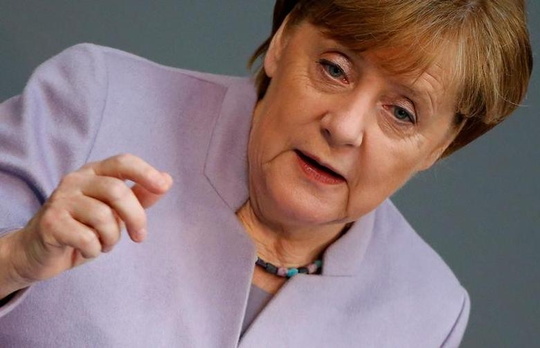 German Chancellor Angela Merkel addresses the lower house of parliament Bundestag in Berlin, Germany, April 27, 2017.      REUTERS/Hannibal Hanschke