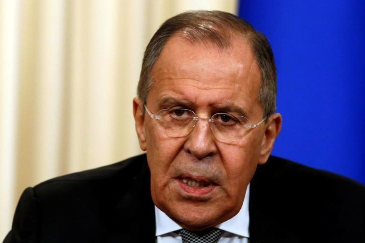 Russian Foreign Minister Sergei Lavrov speaks during a news conference with U.S. Secretary of State Rex Tillerson following their talks in Moscow, Russia, April 12, 2017. REUTERS/Sergei Karpukhin/Files