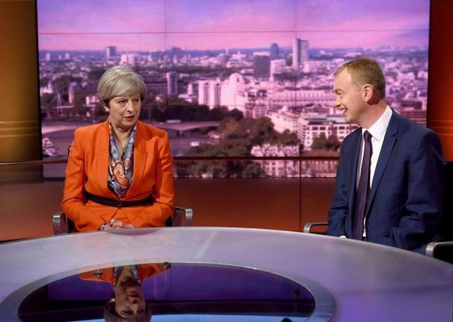4月30日、メイ英首相は、BBCテレビ番組のインタビューで、欧州連合(EU)離脱に向けた交渉は難航するとの見方を示した。写真はBBC提供(2017年 ロイター)