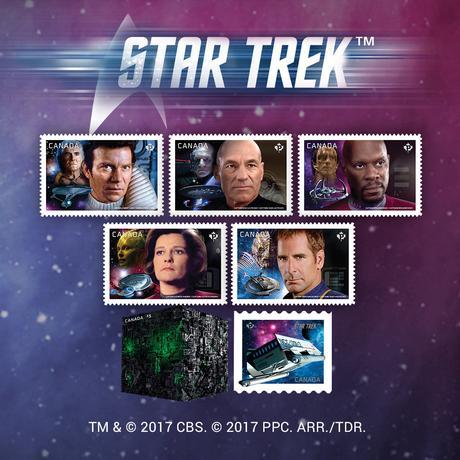 4月28日、カナダの郵便局、カナダポストで28日、人気SF作品「スタートレック」の切手7種類が発売開始となった。写真はカナダポスト提供(2017年 ロイター)
