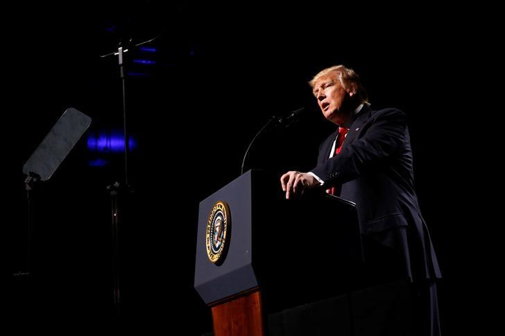U.S. President Donald Trump delivers remarks at the National Rifle Association (NRA) Leadership Forum at the Georgia World Congress Center in Atlanta, Georgia, U.S., April 28, 2017. REUTERS/Jonathan Ernst/Files