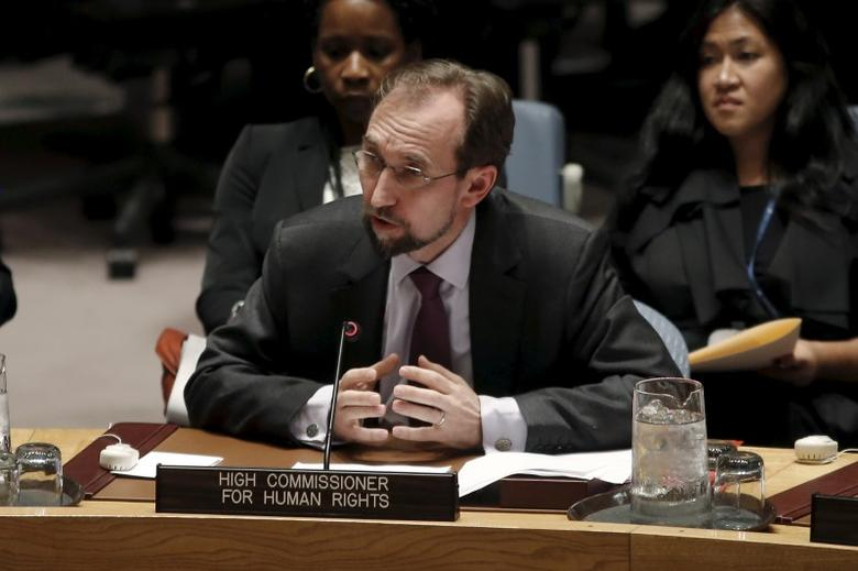 United Nations High Commissioner for Human Rights Zeid Ra'ad al-Hussein of Jordan addresses a meeting of the U.N. Security Council on alleged human rights abuses by North Korea which has been accused by a U.N. inquiry of abuses comparable to Nazi-era atrocities at U.N. headquarters in New York, December 10, 2015. REUTERS/Mike Segar/Files