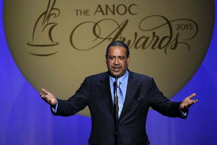Oct 29, 2015; Washington, USA; ANOC president Sheikh Ahmad Al-Fahad Al-Ahmed Al-Sabah of Kuwait speaks during the 2015 ANOC Awards at DAR Constitution Hall. Mandatory Credit: Geoff Burke-USA TODAY Sports
