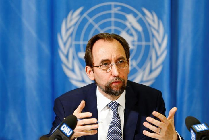 United Nations High Commissioner for Human Rights Zeid Ra'ad al-Hussein of Jordan speaks during a news conference at the United Nations European headquarters in Geneva, Switzerland, May 1, 2017. REUTERS/Pierre Albouy