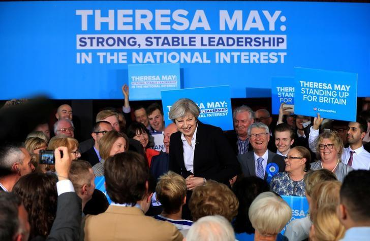 Britain's Prime Minister Theresa May speaks at a campaign rally at Mawdesley Hall in Ormskirk May 1, 2017. REUTERS/ Peter Byrne/Pool